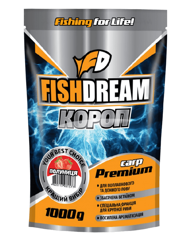 Прикормка FishDream Premium Zip Короп полуниця 1kg