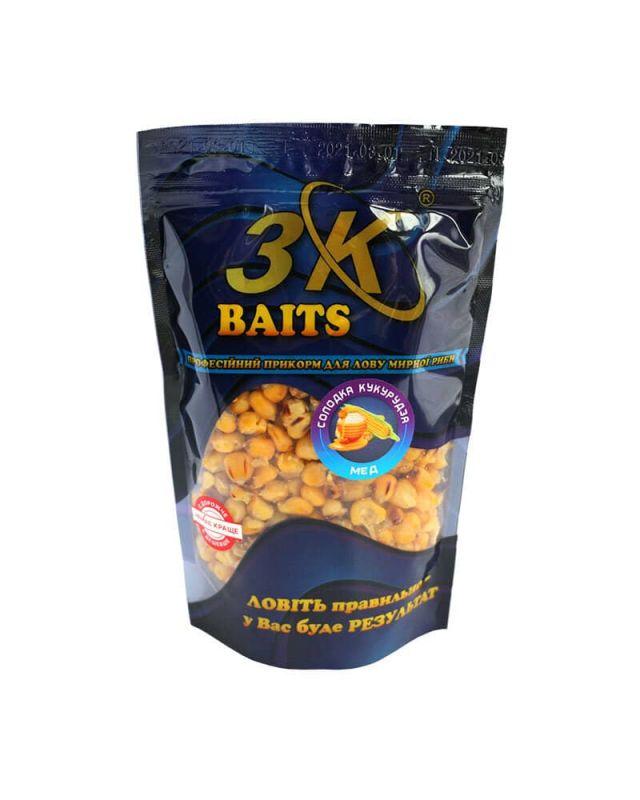 Прикормка 3K Baits кукурудза солод.(мед)400g