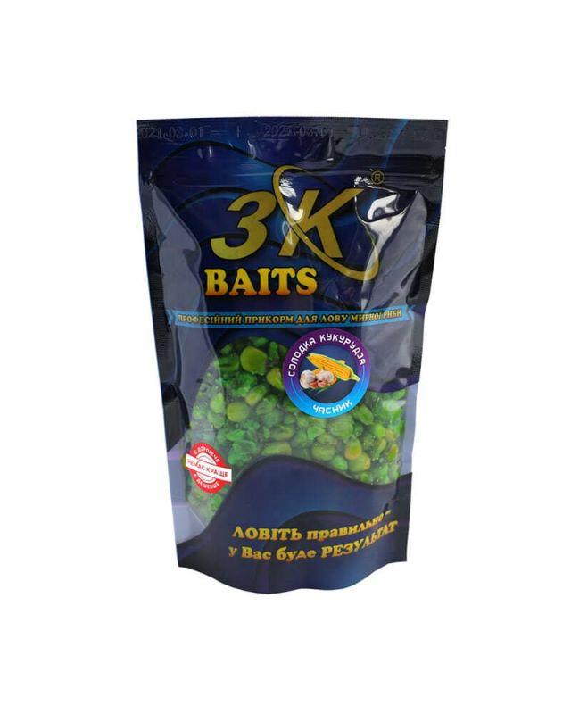 Прикормка 3K Baits кукурудза солод.(часник)400g